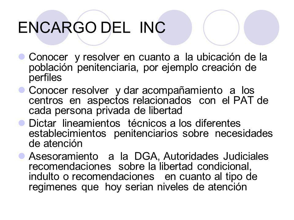ENCARGO DEL INC Conocer y resolver en cuanto a la ubicación de la población penitenciaria, por ejemplo creación de perfiles.