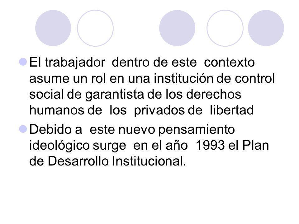 El trabajador dentro de este contexto asume un rol en una institución de control social de garantista de los derechos humanos de los privados de libertad