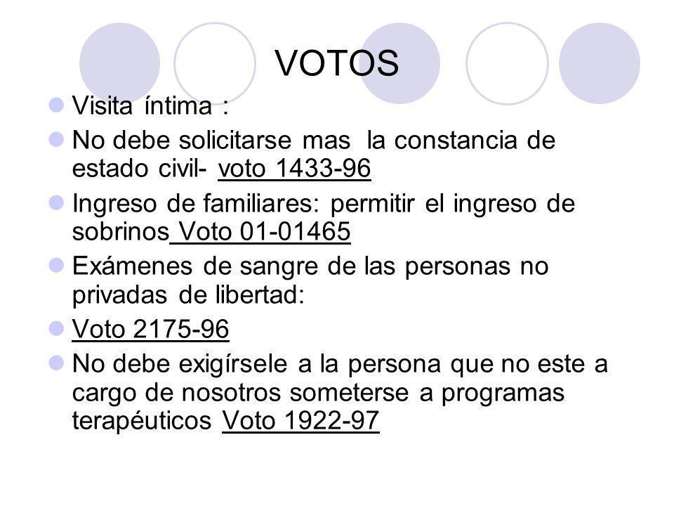 VOTOS Visita íntima : No debe solicitarse mas la constancia de estado civil- voto 1433-96.