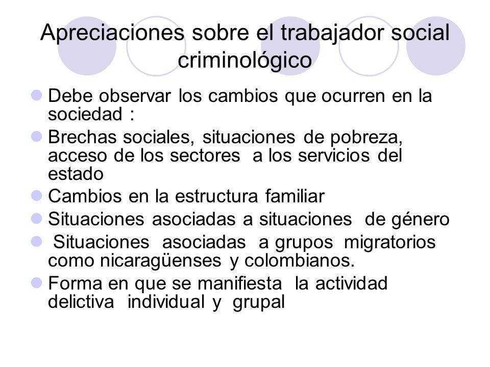 Apreciaciones sobre el trabajador social criminológico