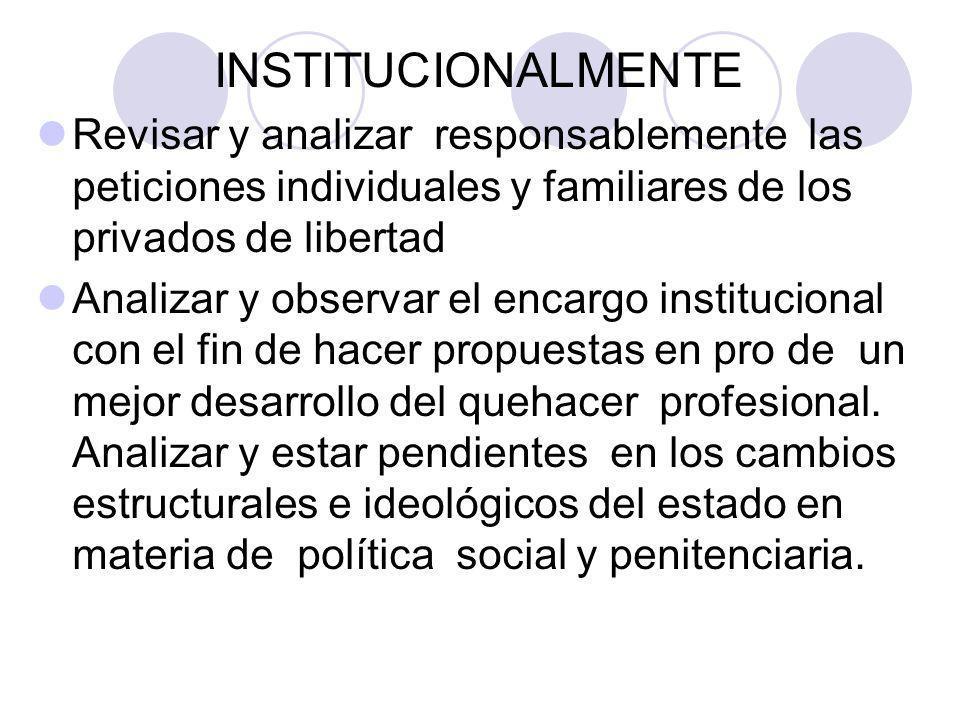INSTITUCIONALMENTE Revisar y analizar responsablemente las peticiones individuales y familiares de los privados de libertad.