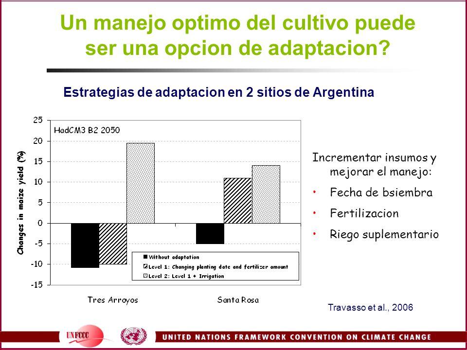 Un manejo optimo del cultivo puede ser una opcion de adaptacion