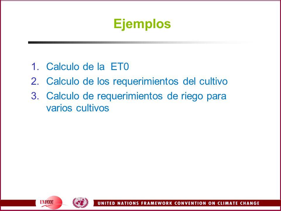 Ejemplos Calculo de la ET0 Calculo de los requerimientos del cultivo