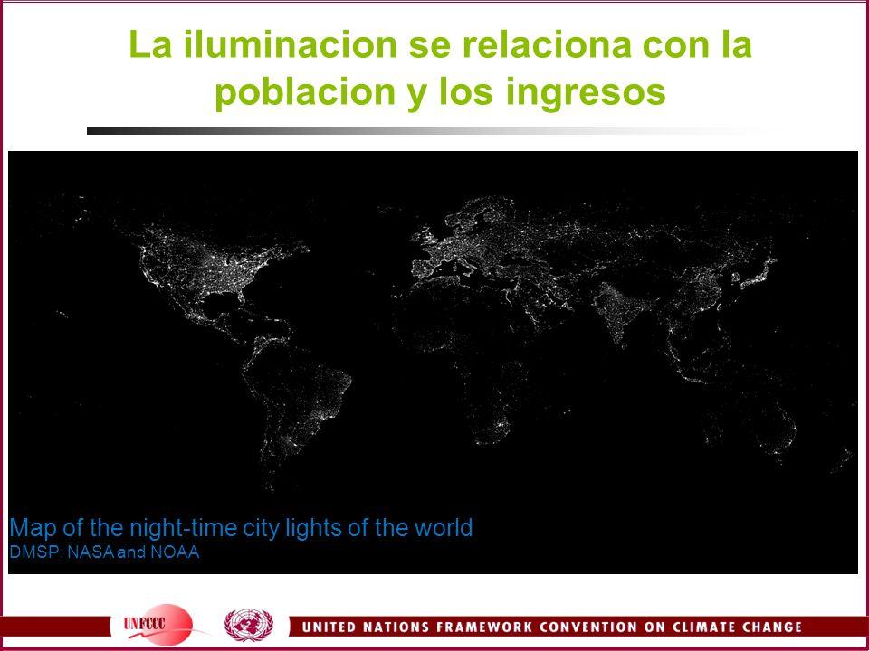 La iluminacion se relaciona con la poblacion y los ingresos