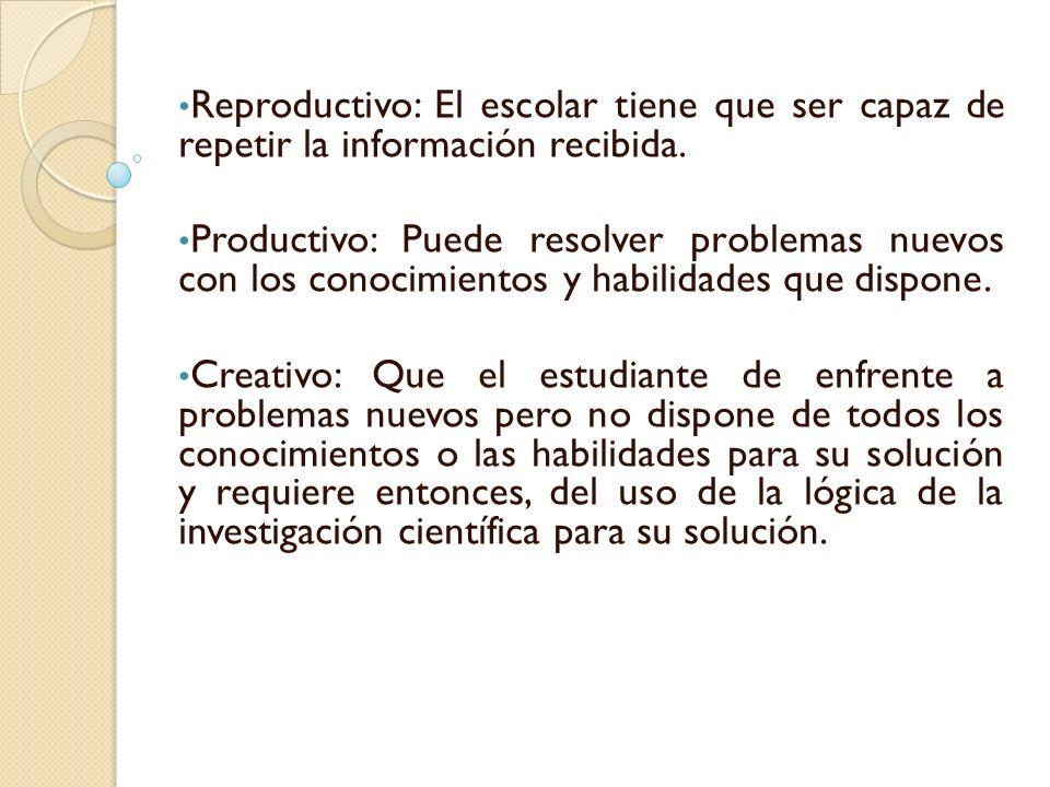 Reproductivo: El escolar tiene que ser capaz de repetir la información recibida.