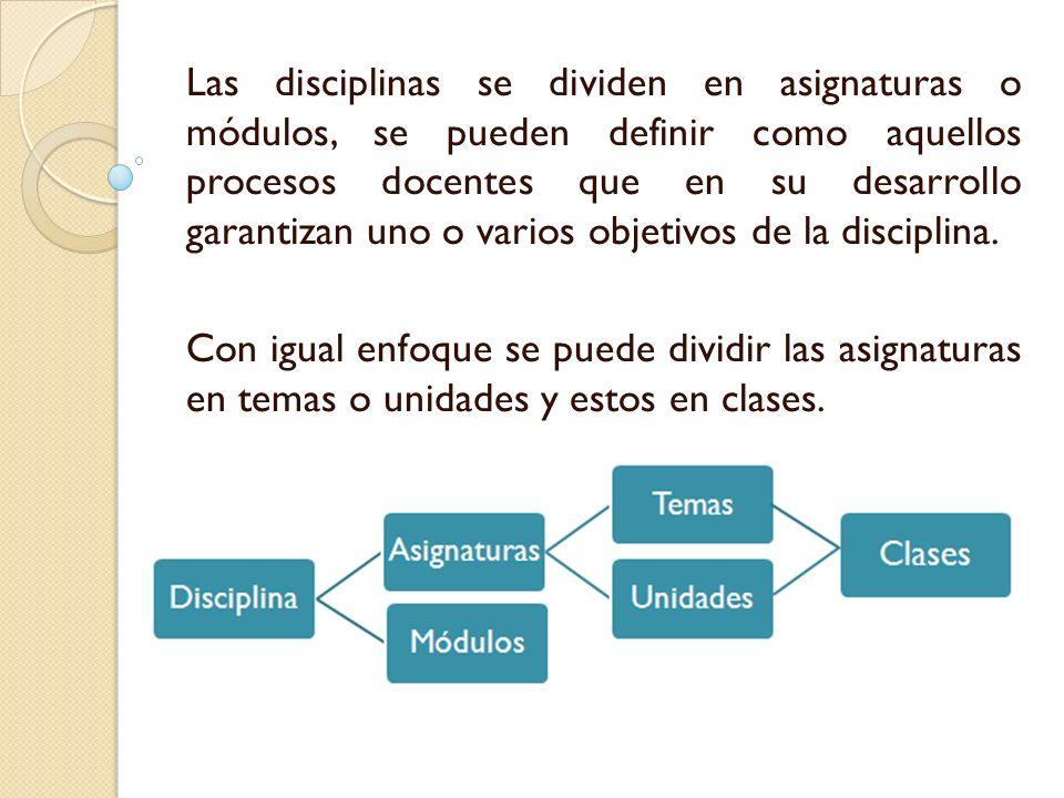 Las disciplinas se dividen en asignaturas o módulos, se pueden definir como aquellos procesos docentes que en su desarrollo garantizan uno o varios objetivos de la disciplina.