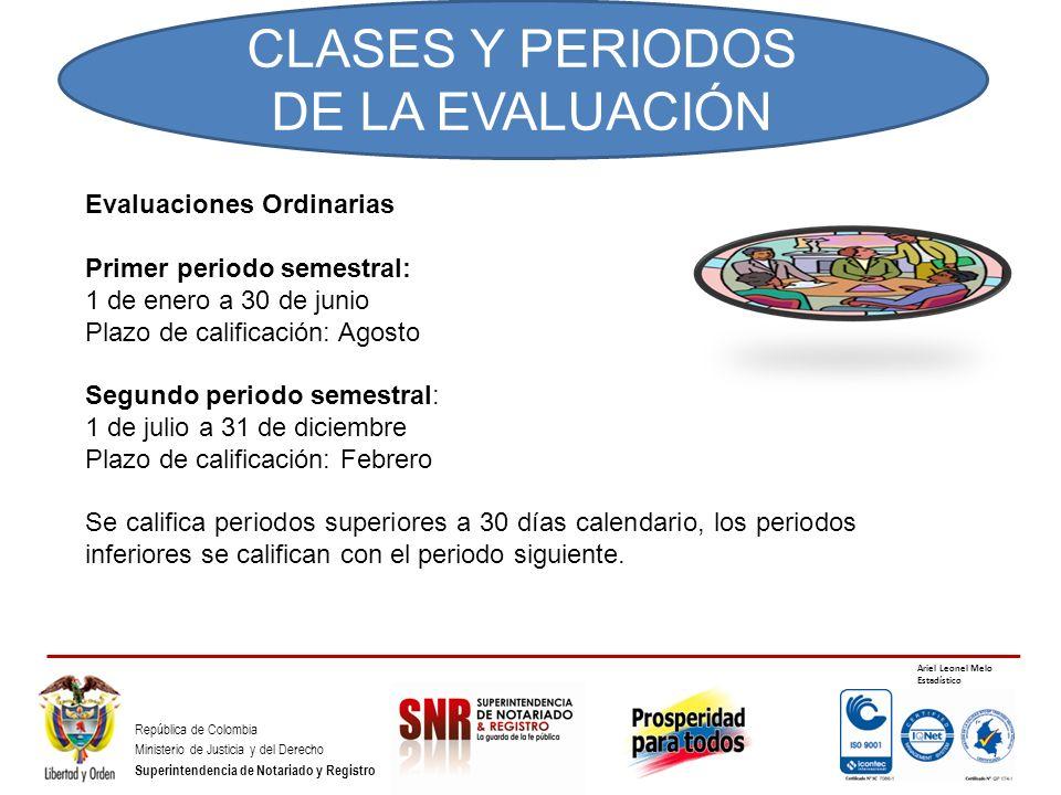 CLASES Y PERIODOS DE LA EVALUACIÓN