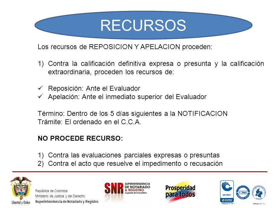RECURSOS Los recursos de REPOSICION Y APELACION proceden:
