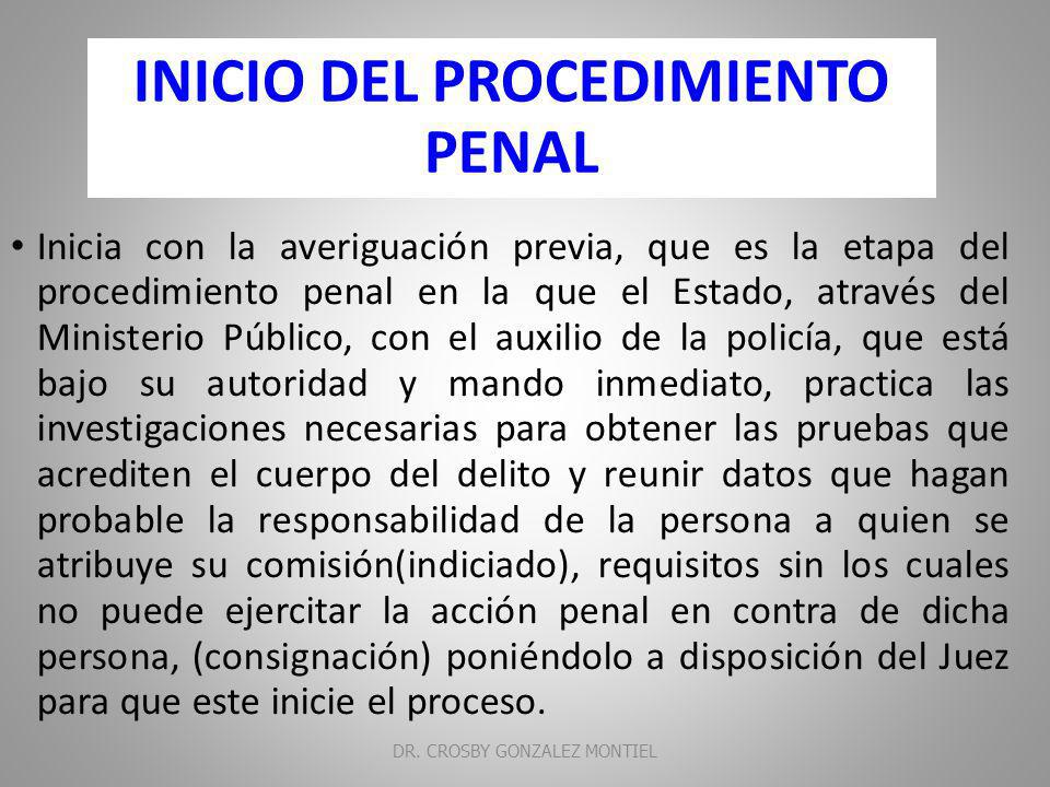 INICIO DEL PROCEDIMIENTO PENAL