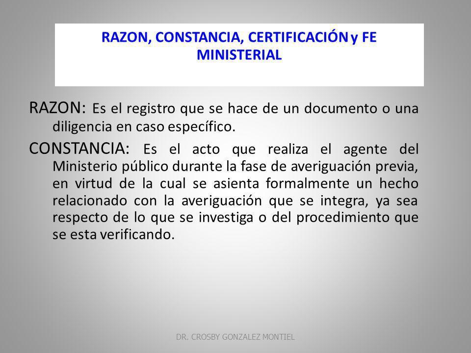 RAZON, CONSTANCIA, CERTIFICACIÓN y FE MINISTERIAL