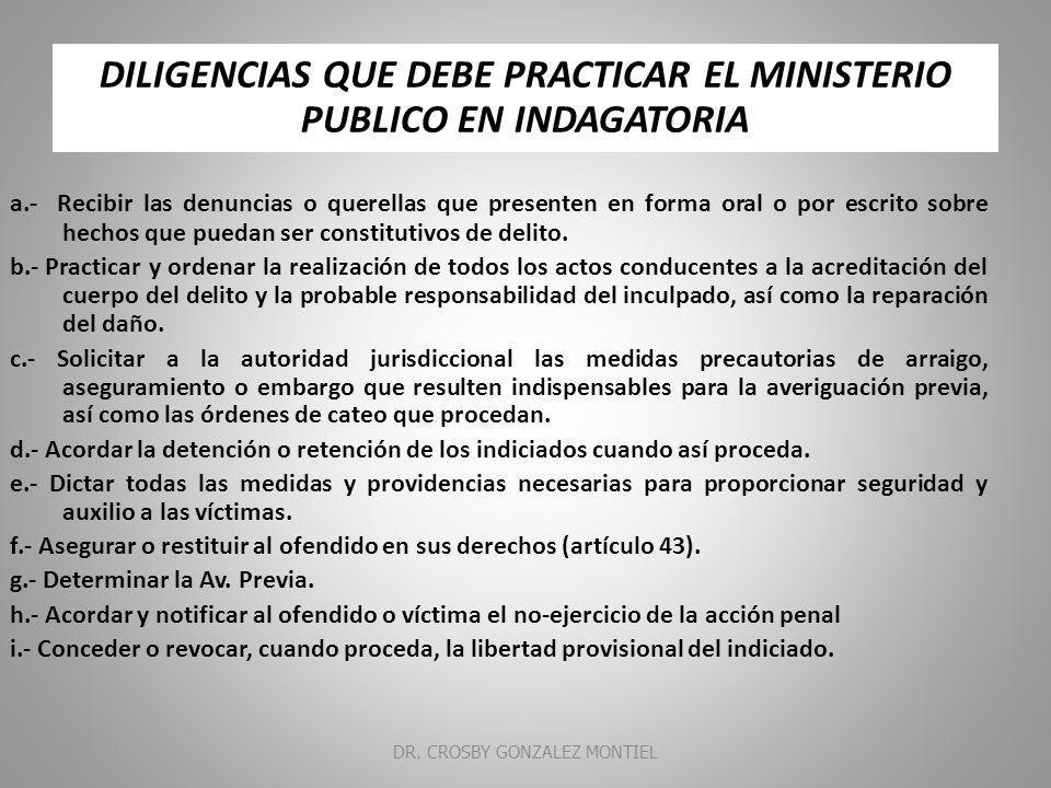 DILIGENCIAS QUE DEBE PRACTICAR EL MINISTERIO PUBLICO EN INDAGATORIA