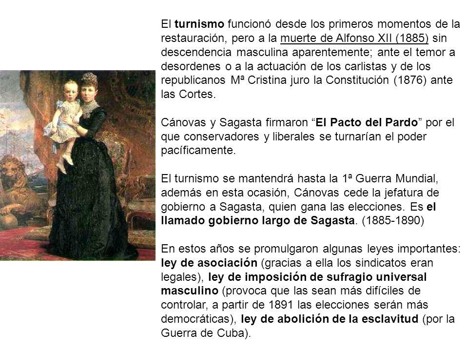 El turnismo funcionó desde los primeros momentos de la restauración, pero a la muerte de Alfonso XII (1885) sin descendencia masculina aparentemente; ante el temor a desordenes o a la actuación de los carlistas y de los republicanos Mª Cristina juro la Constitución (1876) ante las Cortes.