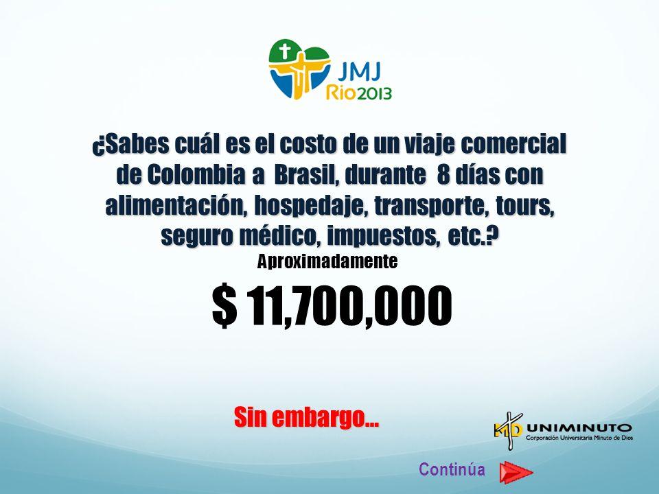 ¿Sabes cuál es el costo de un viaje comercial de Colombia a Brasil, durante 8 días con alimentación, hospedaje, transporte, tours, seguro médico, impuestos, etc.