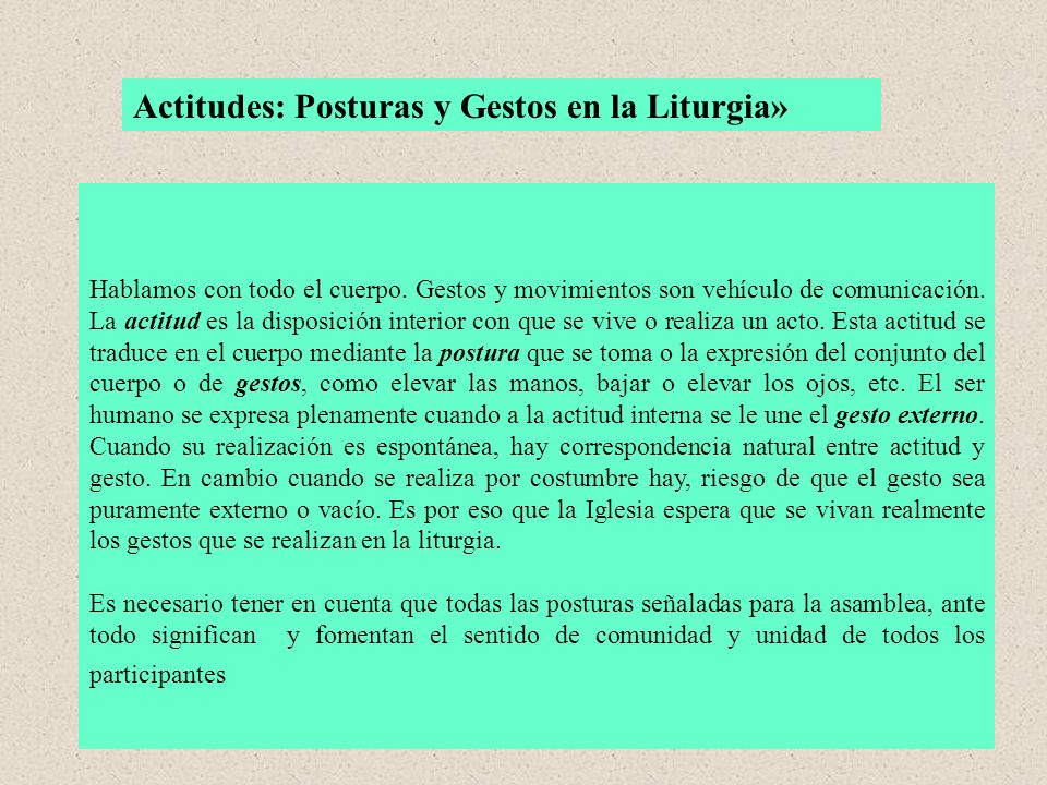 Actitudes: Posturas y Gestos en la Liturgia»