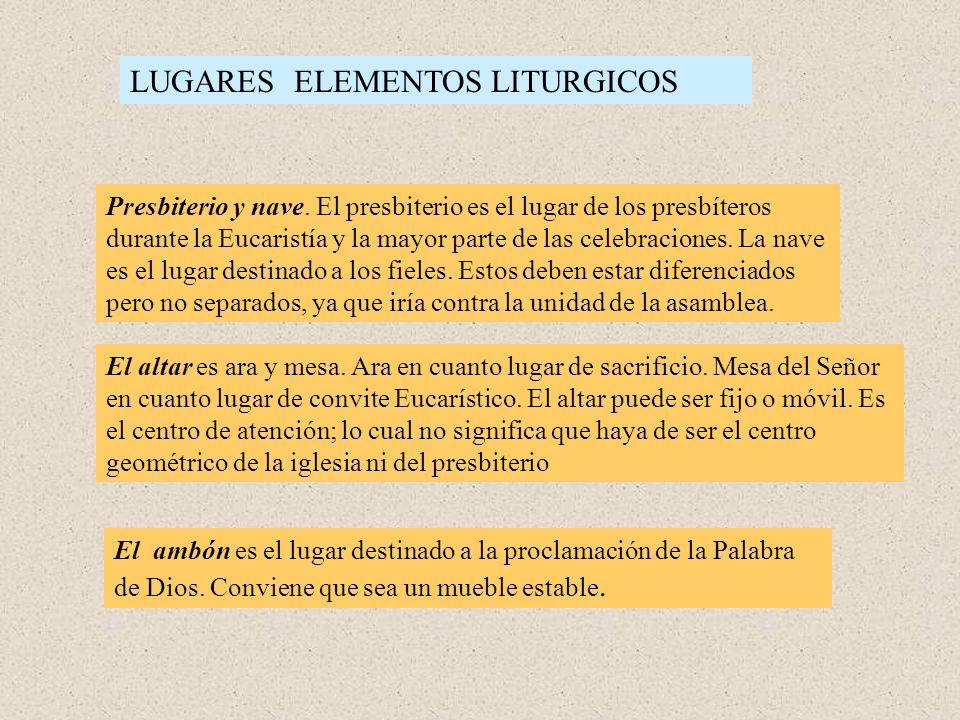 LUGARES ELEMENTOS LITURGICOS