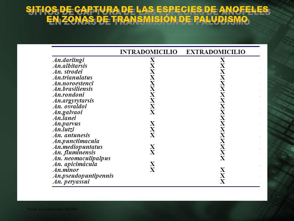 SITIOS DE CAPTURA DE LAS ESPECIES DE ANOFELES EN ZONAS DE TRANSMISIÓN DE PALUDISMO