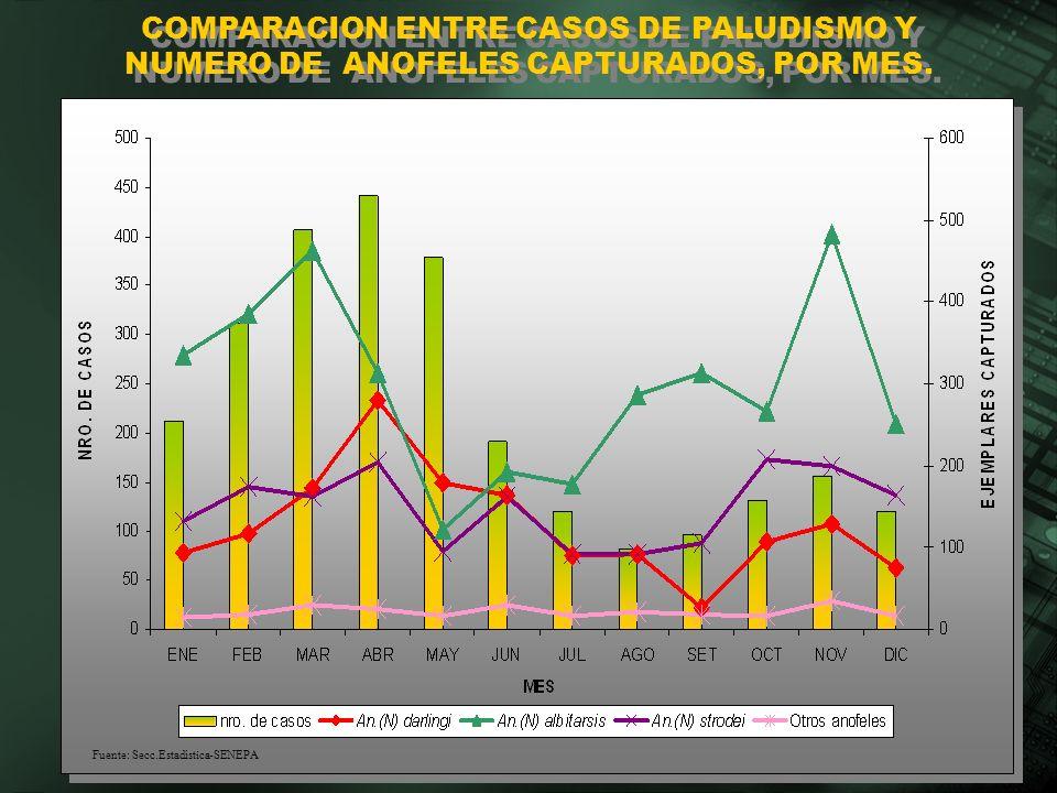 COMPARACION ENTRE CASOS DE PALUDISMO Y NUMERO DE ANOFELES CAPTURADOS, POR MES.
