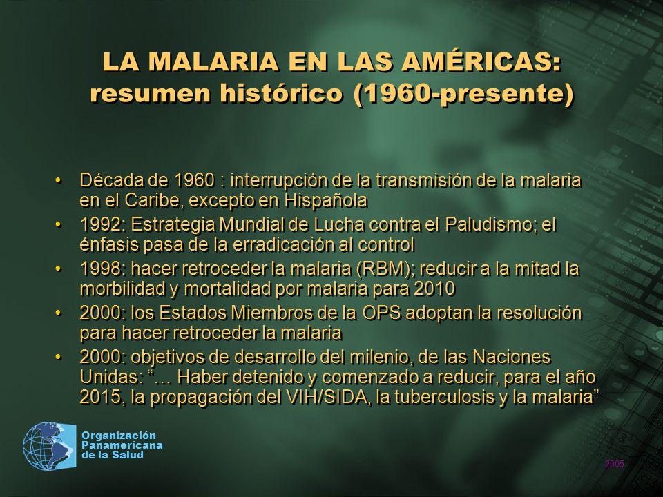 LA MALARIA EN LAS AMÉRICAS: resumen histórico (1960-presente)