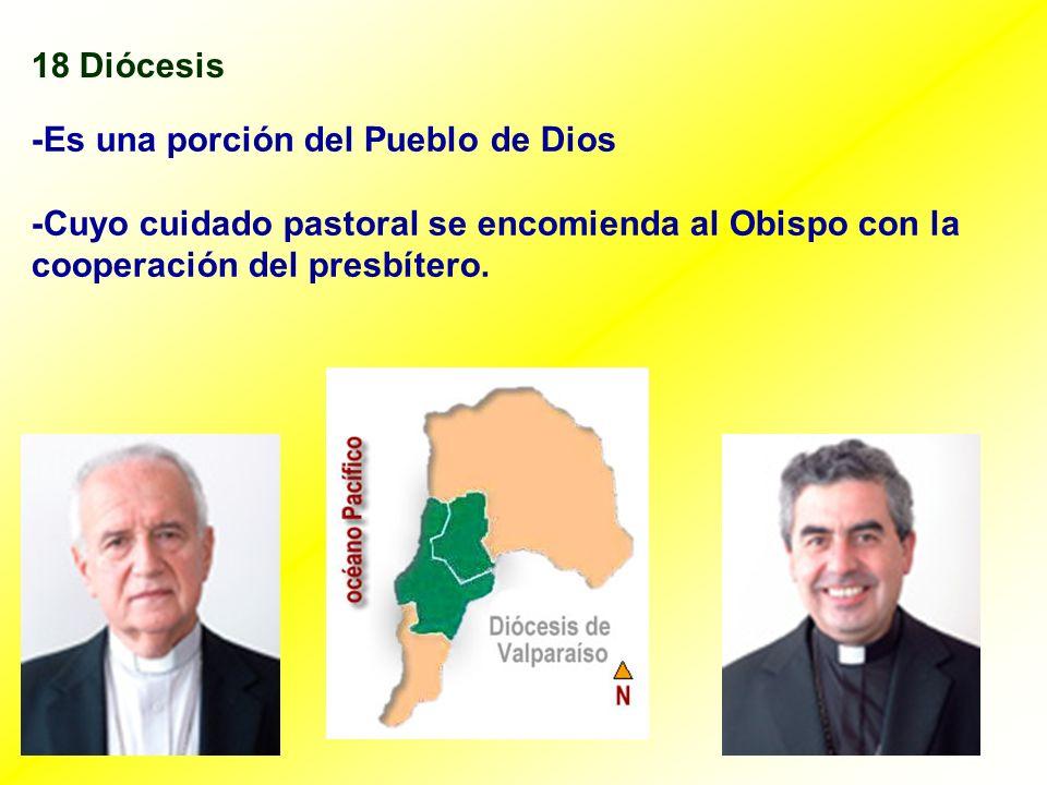 18 Diócesis -Es una porción del Pueblo de Dios. -Cuyo cuidado pastoral se encomienda al Obispo con la.