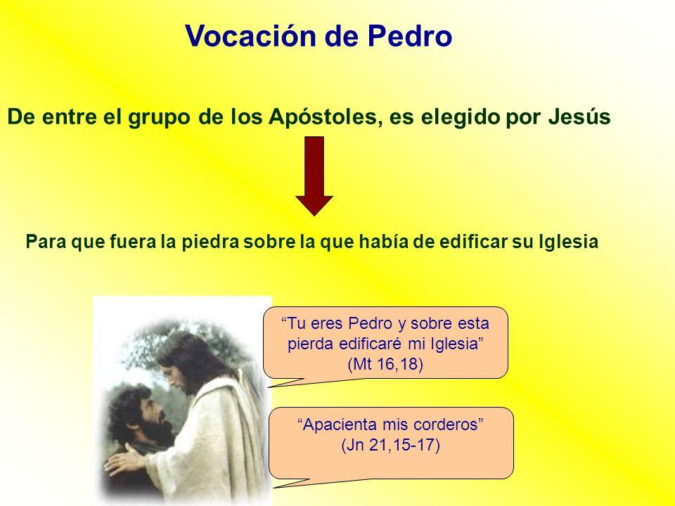 Vocación de Pedro De entre el grupo de los Apóstoles, es elegido por Jesús. Para que fuera la piedra sobre la que había de edificar su Iglesia.