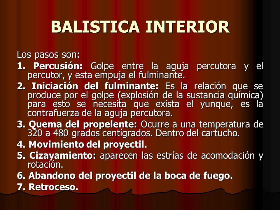 BALISTICA INTERIOR Los pasos son: