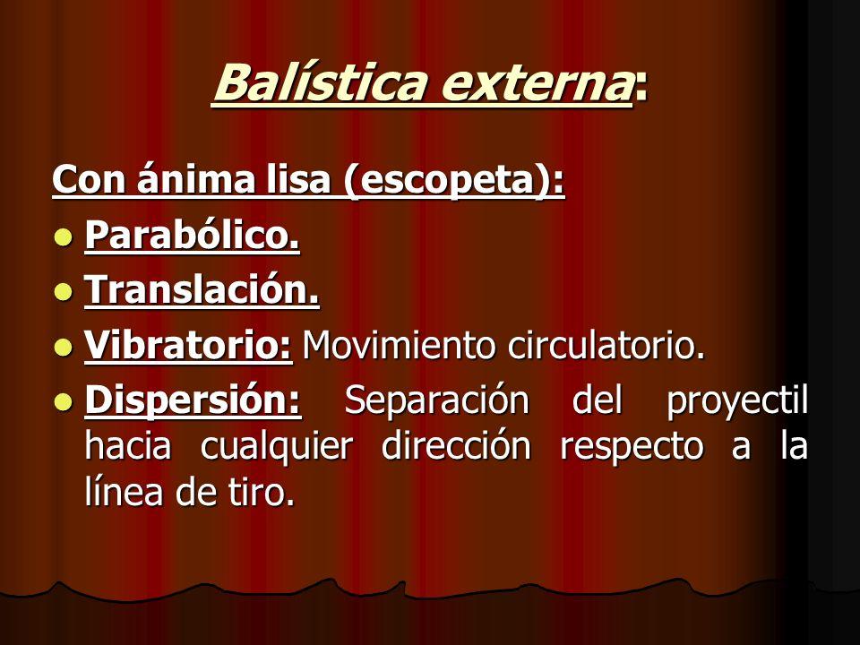 Balística externa: Con ánima lisa (escopeta): Parabólico. Translación.