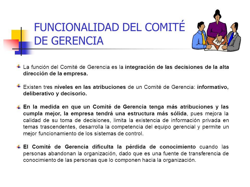 FUNCIONALIDAD DEL COMITÉ DE GERENCIA