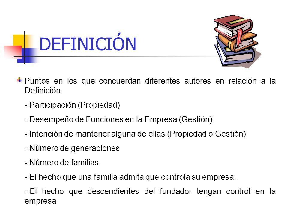 DEFINICIÓN Puntos en los que concuerdan diferentes autores en relación a la Definición: Participación (Propiedad)