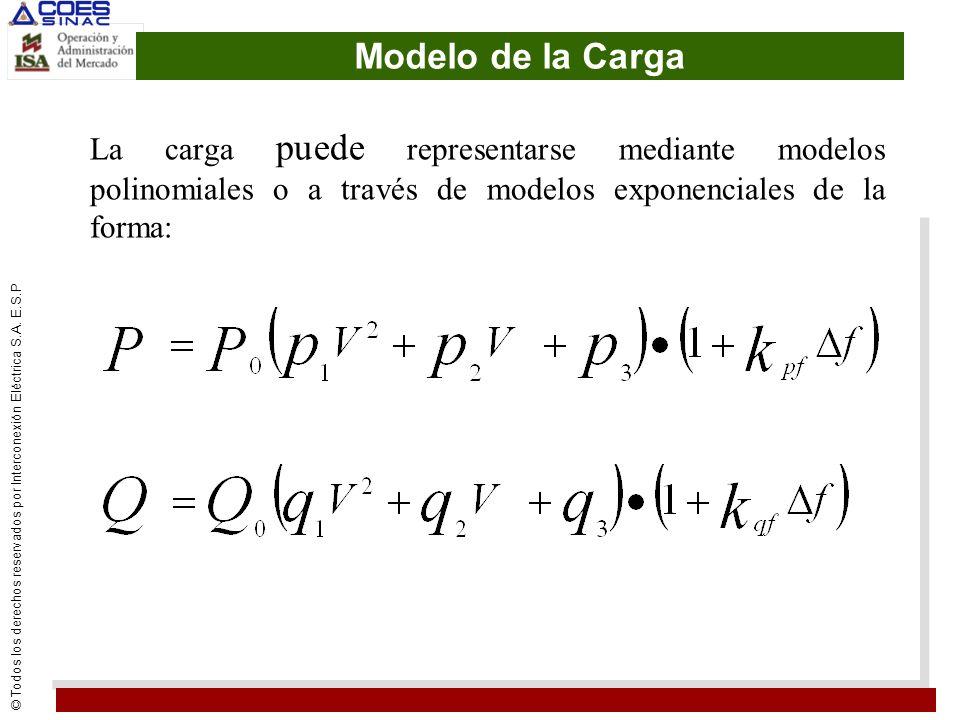 Modelo de la Carga La carga puede representarse mediante modelos polinomiales o a través de modelos exponenciales de la forma: