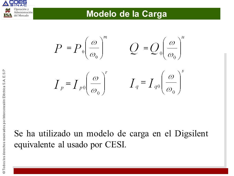 Modelo de la Carga Se ha utilizado un modelo de carga en el Digsilent equivalente al usado por CESI.
