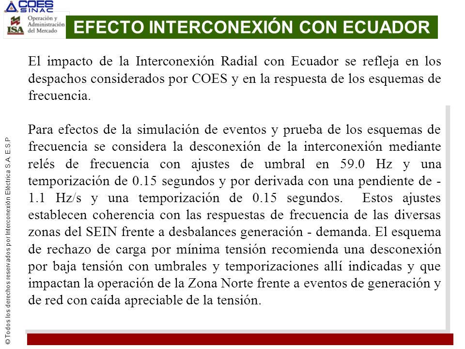 EFECTO INTERCONEXIÓN CON ECUADOR