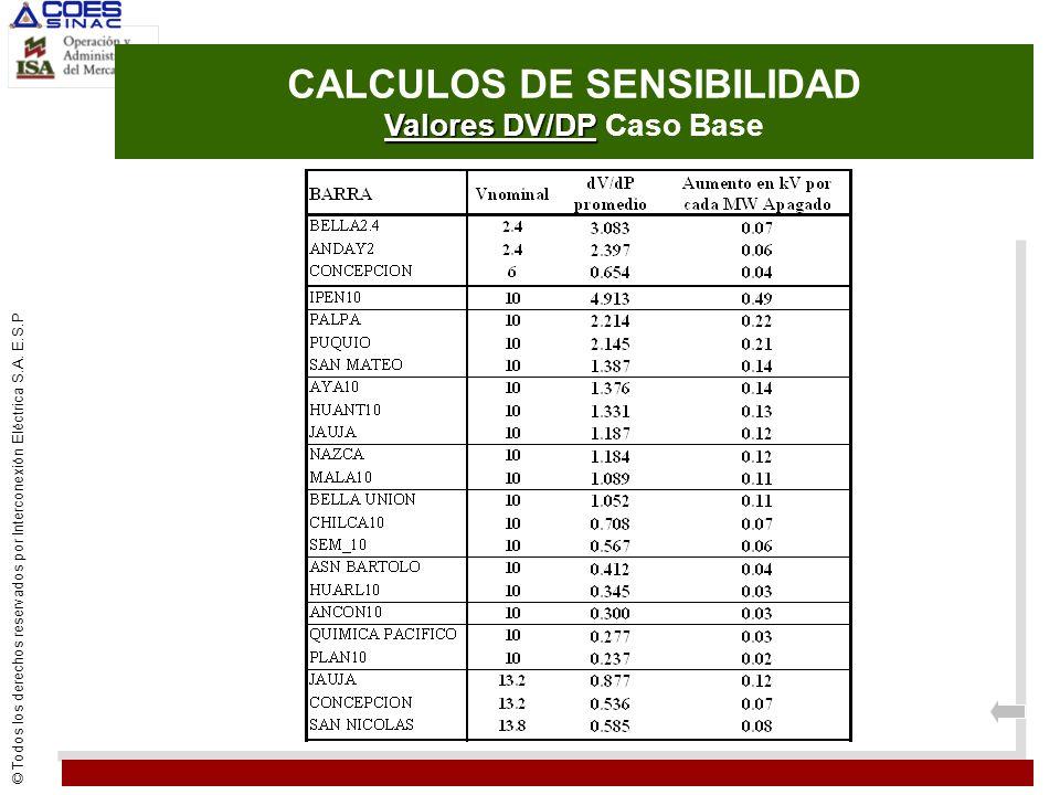CALCULOS DE SENSIBILIDAD Valores DV/DP Caso Base