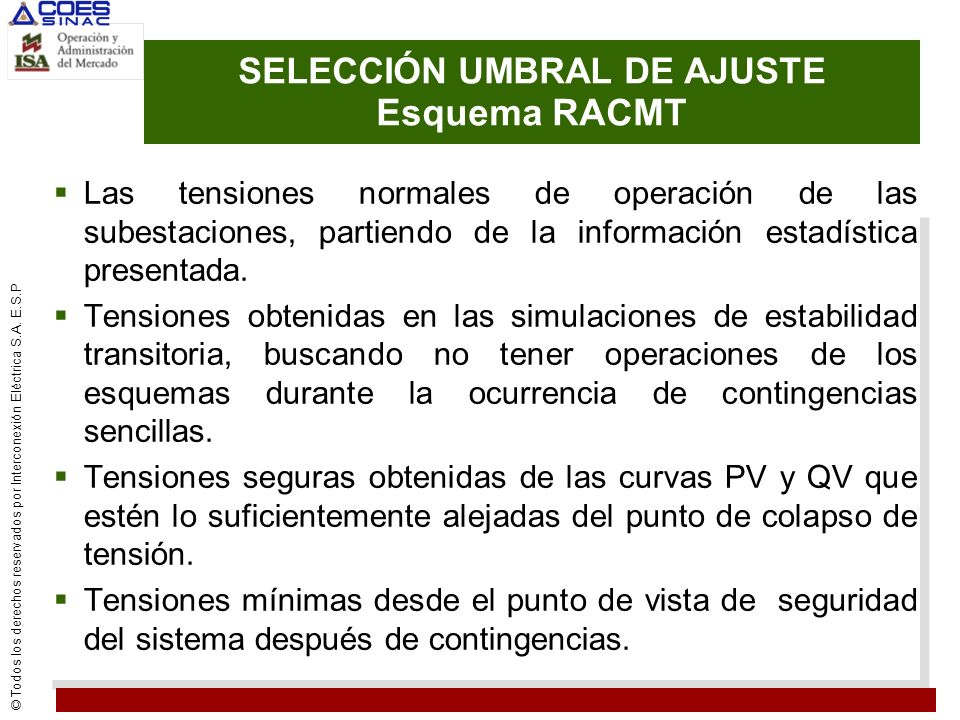 SELECCIÓN UMBRAL DE AJUSTE Esquema RACMT
