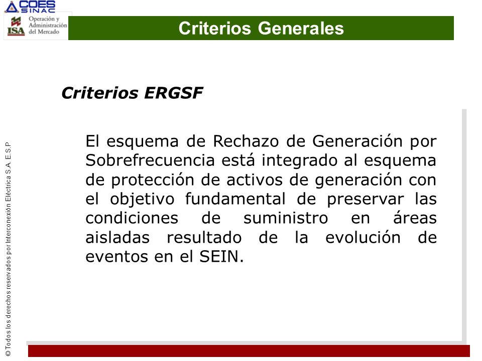 Criterios Generales Criterios ERGSF