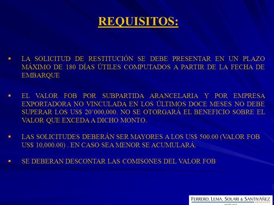 REQUISITOS: LA SOLICITUD DE RESTITUCIÓN SE DEBE PRESENTAR EN UN PLAZO MÁXIMO DE 180 DÍAS ÚTILES COMPUTADOS A PARTIR DE LA FECHA DE EMBARQUE.
