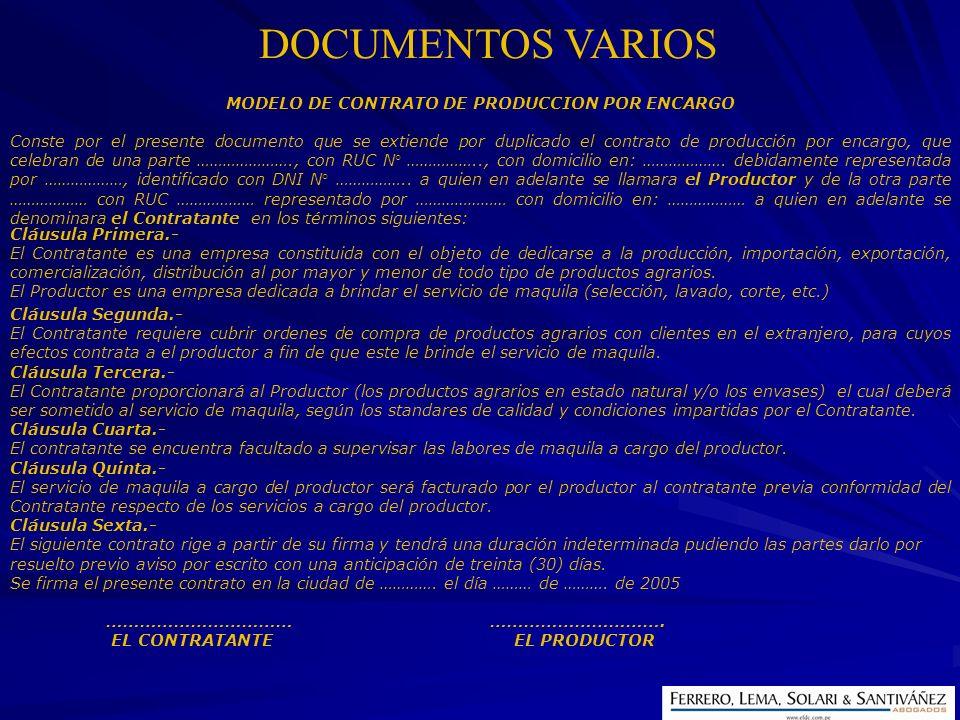 MODELO DE CONTRATO DE PRODUCCION POR ENCARGO