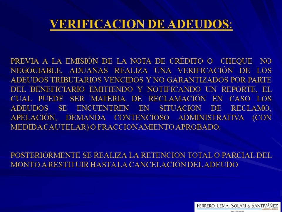 VERIFICACION DE ADEUDOS: