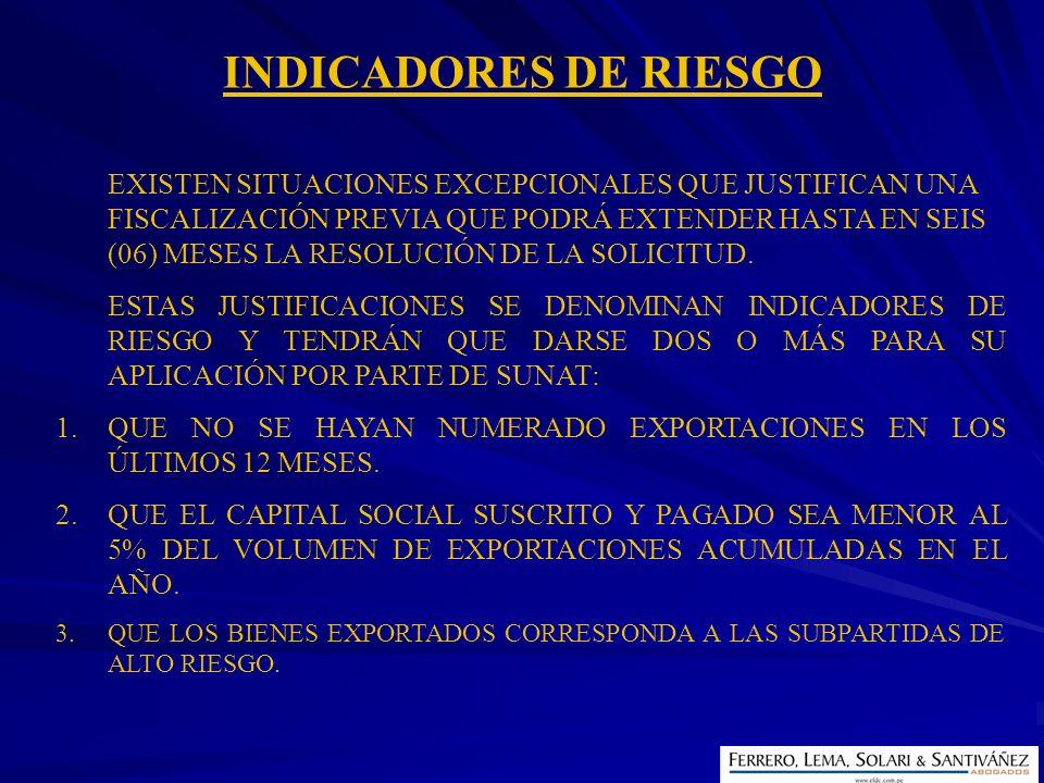 INDICADORES DE RIESGO