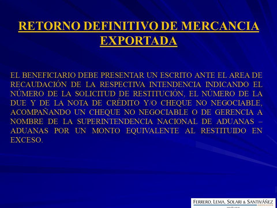 RETORNO DEFINITIVO DE MERCANCIA EXPORTADA