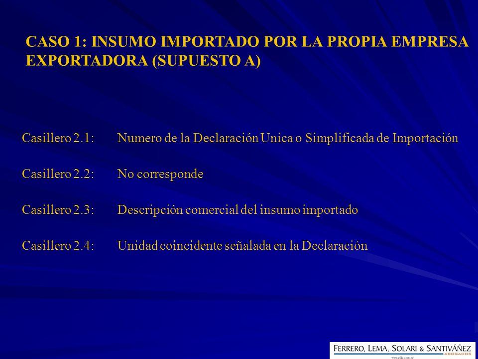 CASO 1: INSUMO IMPORTADO POR LA PROPIA EMPRESA EXPORTADORA (SUPUESTO A)