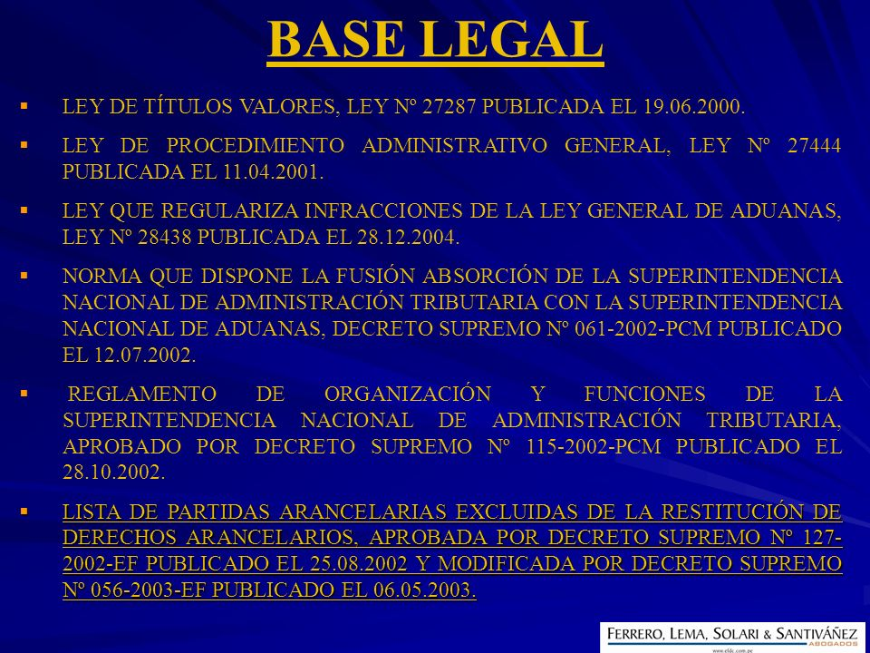 BASE LEGAL LEY DE TÍTULOS VALORES, LEY Nº 27287 PUBLICADA EL 19.06.2000.