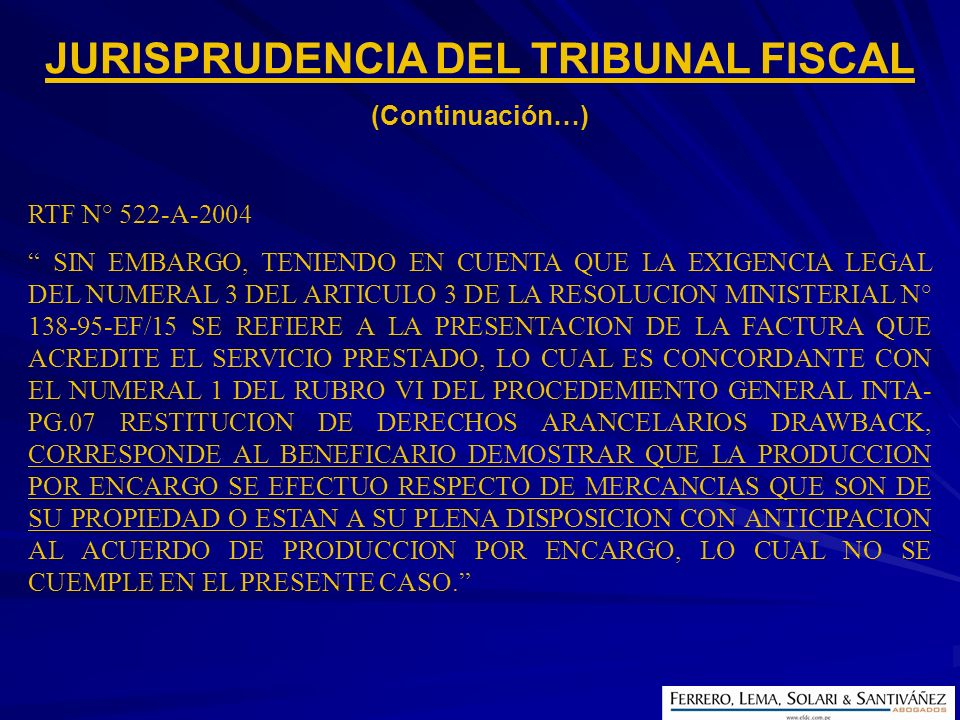 JURISPRUDENCIA DEL TRIBUNAL FISCAL