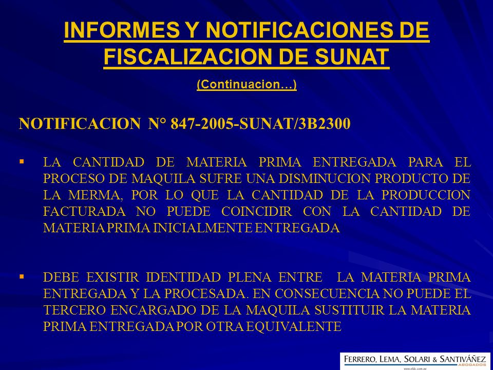 INFORMES Y NOTIFICACIONES DE FISCALIZACION DE SUNAT