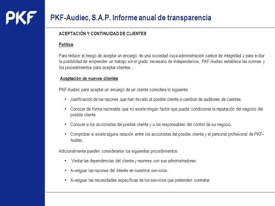 PKF-Audiec, S.A.P. Informe anual de transparencia