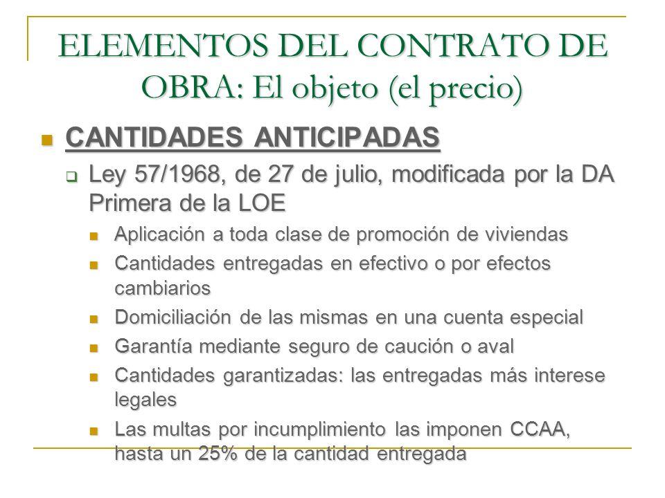 ELEMENTOS DEL CONTRATO DE OBRA: El objeto (el precio)