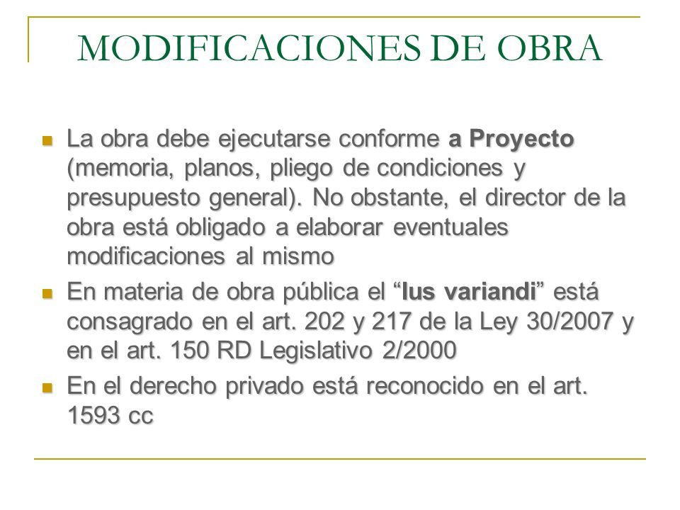 MODIFICACIONES DE OBRA