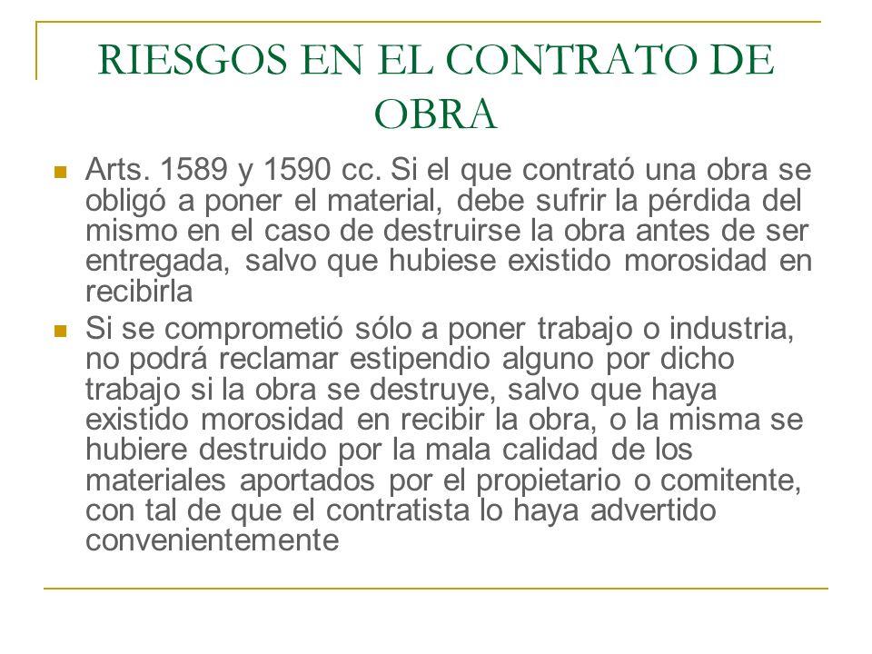 RIESGOS EN EL CONTRATO DE OBRA