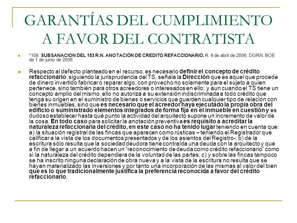 GARANTÍAS DEL CUMPLIMIENTO A FAVOR DEL CONTRATISTA