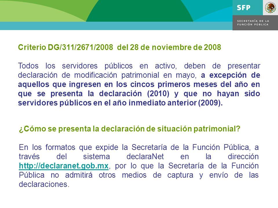 Criterio DG/311/2671/2008 del 28 de noviembre de 2008