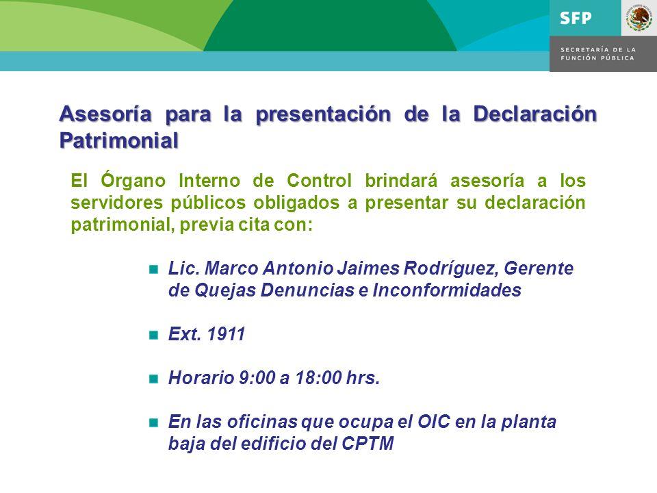 Asesoría para la presentación de la Declaración Patrimonial